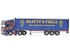 The Corgi Scania R Curtainside Trailer - Beatty Fuels, Enniskillen, Northern Ireland is a diecast model truck in the Corgi Hauliers Of Renown range. George Beatty began trading in 1979 in the backyard of his father's grocery and confectionery business. Since its humble beginnings, Beatty Fuels has become one of the largest family owned businesses still independent of the international fuel businesses that dominate today, employing over 40 people from Ballinamallard and the surrounding area.