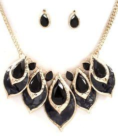 Antique Style Bib Necklace Set Black Peacock Enamel Facets Tear Drop Stones  #FashionJewelry