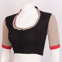 Hand Embroidered Cotton Blouse With Mirror Work & Collar Neck 10020616 Blouse Neck Patterns, Saree Blouse Neck Designs, Designer Blouse Patterns, Boat Neck Saree Blouse, Patch Work Blouse Designs, Fancy Blouse Designs, Dress Designs, Blouse Neck Models, Collor