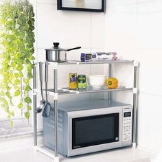 DURABLE Multifunctional Microwave Oven Rack Kitchen Shelves, Silver