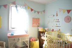 Eclectic Boho Nursery - love the bright, whimsical accents!