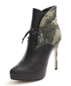 XOXO Black & Green Camo Valerie Ankle Boot $20 @ Shoe Carnival