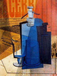 'El Sifón' (1915) by Argentinian painter Emilio Pettoruti (1892-1971). Collage on cardboard, 46 x 36 cm. via Mid-centuria