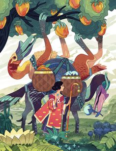 An illustration of fantastically coloured beasts by Sam Bosna.