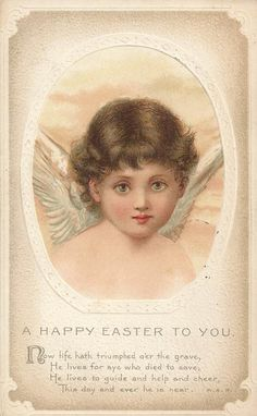 vintage Easter card with an angel and greeting.