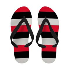 Vibrantly elegant, Black, red and white striped flip flops by khoncepts.com