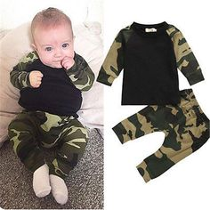 Cute Camouflage Newborn Baby Boys Kids T-shirt Top Long Pants Army Green Baby Boys Clothing Outfit Clothes Set – Kid Shop Global – Kids & Baby Shop Online – baby & kids clothing, toys for baby & kid – Bebek ve çocuk. Camo Outfits, Baby Boy Outfits, Kids Outfits, Spring Outfits, Dress Outfits, Baby Boys, Baby Boy Newborn, Kids Boys, Kids Army