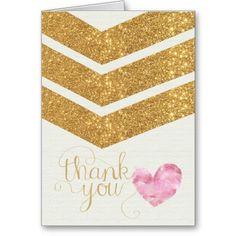 Gold Glitter Chevron Heart Thank You Card