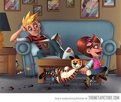 Calvin and Hobbes is another big favorite of mine. Love this all-grown-up fan art with Calvin passing the torch to his daughter:) Calvin Y Hobbes, Hobbes And Bacon, 4 Panel Life, Image Blog, All Grown Up, Game Art, Amazing Art, Awesome, Growing Up