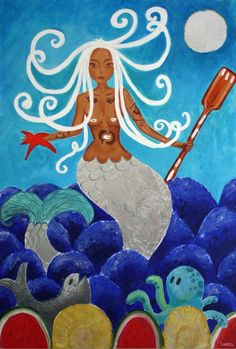 "Folklore: First mermaid stories were brought here by African slaves. Black mermaids were treated like goddesses, people worshipped them. They were strong, could cause storms, they could be benevolent and bless your fishing harvest.  ""Orisha Yemayá"" by Laura Alvarez"