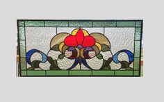 Victorian stained glass panel window seafoam green stained glass window panel large window hanging stained glass transom