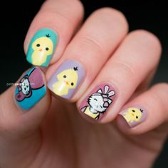 Easter Bunny Hello Kitty and Chicks Petite Peinture Nail Art