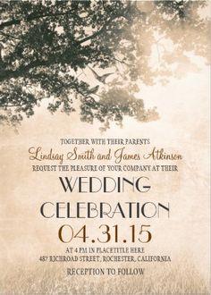 Vintage wedding invitation. Rustic Tree Vintage Wedding Invitations. #vintage_wedding_invitations