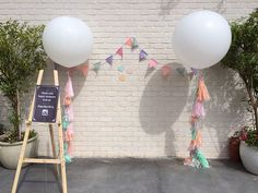 The perfect combination for your spring wedding. Our sorbet love giant balloon with tassel garland in light pink, mint, peach and light grey is the