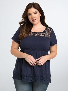Crochet Babydoll Top, PEACOAT Torrid