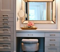 Master closet makeup vanity with tray, crystal sconce (not shown), stool with small back. Interior Designer: Kat Barrow-Horth of Robin Rile Fine Art, Miami, Florida. www.robinrile.com. Email: kat@robinrile.com