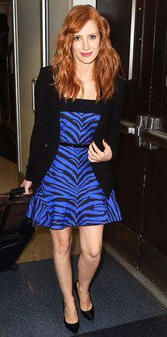 Jessica Chastain showed her wild side at LAX, where she paired a blue and black animal print dress with a structured black blazer, skinny black belt, and black pumps.