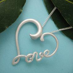 Silver Heart Wirework Necklace Love Heart by JeanDesignsJewelry