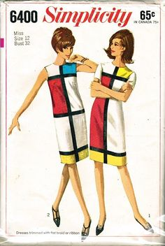 Mondrian Dress Pattern 1965: if you couldn't afford it ready-made you could make it yourself!