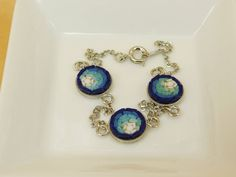Micro mosaic bracelet - blue nuance by PiccoloMosaico on Etsy