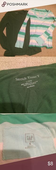 J. Crew & GAP long sleeve v-neck Tee J. Crew and GAP v-neck Tees. J. Crew green Stretch Tissue T size Medium. Gap size small pretty stripes. Very good used condition.   I offer 20% off bundles of 2 or more. Check out my other listings! J. Crew Tops Tees - Long Sleeve