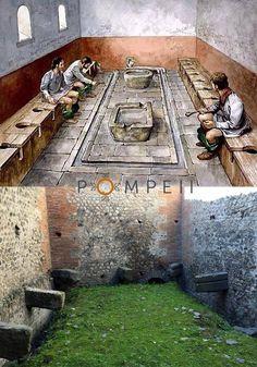 *POMPEII, ITALY  ~ The public latrine in the Forum of Pompeii