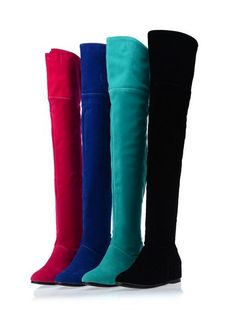 Sizes Women Ladies Over Knee Thigh High Boots Shoes Faux Suede Shoes Plus Size Flat Heel Boots, Wedge Boots, Shoe Boots, Boot Wedges, Flat Shoes, Long Boots, Knee High Boots, Over The Knee Boots, Latest Ladies Shoes