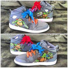 348edcdecc576 Items similar to Ninja Turtles Custom Kids Nike Air Jordan 1 Mid on Etsy