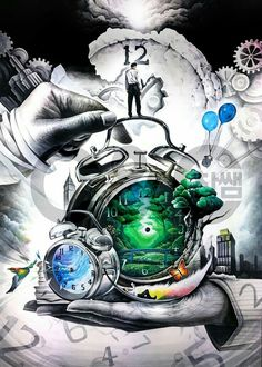 Notice how everything is connected to time, make sure you use that time wisely and worthwhile ☺ Fantasy Kunst, Fantasy Art, Composition Art, Ap Studio Art, Poster Drawing, Kunst Poster, Art Competitions, Ap Art, Environmental Art