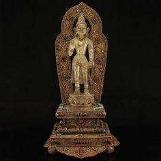 19Th C Tibet Buddhist Silver &White Crystal Tara Statue