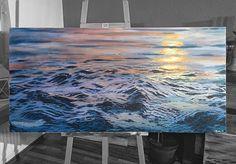 Eine ruhige Wasseroberfläche während des Sonnenuntergangs. Diese ganzen Details nehmen zwar viel Zeit in Anspruch, aber beruhigt auch ungemein beim malen.  140 x 70 cm, Acryl auf Leinwand  noch erhätlich