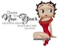Cheers to a New Year and another chance for us to get it right. -Oprah Winfrey - Betty Boop Christmas & Winter Graphics & Greetings GO TO ➡ http://boopchristmas.blogspot.com/ • #BettyBoop #HappyNewYear #Quotes