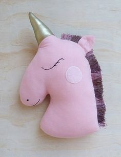 Image of Pink Unicorn Pillow Sewing Crafts, Sewing Projects, Unicorn Pillow, Easy Sewing Patterns, Kids Pillows, Unicorn Party, Sewing For Kids, Kids Decor, Softies