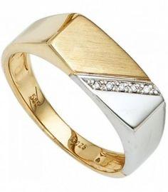 Herren Ring 585 Gold Gelbgold Weißgold bicolor 5 Diamanten Herrenring - 45745 - Schmuck & Uhren Paradies