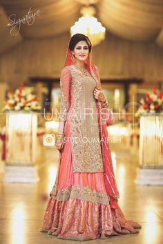 With a pant Latest Wedding Gowns, Muslim Wedding Dresses, Pakistani Wedding Dresses, Indian Dresses, Indian Suits, Walima Dress, Bridal Dress Design, Wedding Dress Pictures, Bridal Outfits