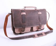 37aa482ab8cb Leather Laptop Briefcase   Laptop bag   Dark Brown Leather Messenger