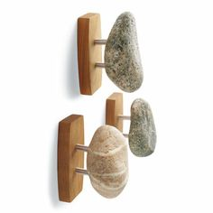 Stone Hook from Grandin Road -  artisan-made in America from sustainably gathered stones and cherry hardwood.  $45