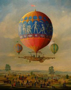 Fine 1900's Victorian Landscape  Hot Air Balloon Event Antique Oil Painting