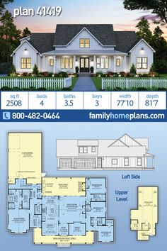 Farmhouse home plan that is sure to be a hit! A 2400 sq ft floor plan, PLUS a 632 sq ft bonus room over the garage, build it out now or leave it unfinished for a future expansion. This sprawling farmhouse offers huge front and rear covered porches. The front porch is a wrap around on both sides, and the fear porch is amazing. An outdoor kitchen, outdoor fireplace, and access to a powder room, make this an ideal entertaining area. Large 3 car garage enters through the mud room close to… House Plans One Story, Country House Plans, New House Plans, Dream House Plans, House Floor Plans, Modern Farmhouse Plans, Country Farmhouse, Farmhouse Style Homes, Farmhouse Ideas