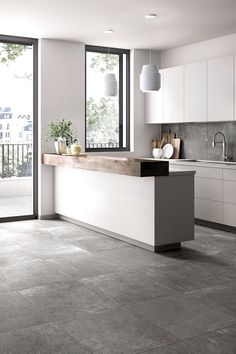 Modern in the kitchen with gray # tiles # entrance area inside - More modern in the kitchen with gray # entrance area house interior The Effective Pic - Home Decor Kitchen, Kitchen Interior, Home Kitchens, Küchen Design, Tile Design, Interior Design, Design Ideas, Kitchen Tiles Design, Modern Kitchen Design