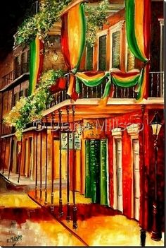 Art 'A Balcony in the French Quarter - SOLD' - by Diane Millsap from New Orleans Beautiful Paintings, Beautiful Landscapes, Gouache, New Orleans Art, Tropical Art, Art Portfolio, Musical, Painting Inspiration, Art Pictures