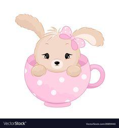 Cute baby girl rabbit inside the cup pastel Vector Image Dance Vector, Bow Vector, Color Vector, Teacup Animals, Free Rabbits, Sleeping Boy, Rabbit Vector, Teddy Bear Toys, Kids Vector