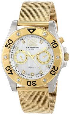 Akribos XXIV Womens Diamond GoldTone Stainless Steel Mesh Bracelet Watch *** Continue to the product at the image link. Mesh Bracelet, Bracelet Watch, Bracelets, Rolex Watches, Wrist Watches, Ladies Watches, Ruby Pendant, Stainless Steel Mesh, Fashion Watches