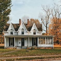 Victorian cottage 3 gables  Fall autumn countryside sun room screened in porch sleeping porch