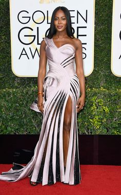 Thigh-High Slit from 2017 Golden Globes' Sexiest Trends Naomi Campbell glowed in a silky gown.