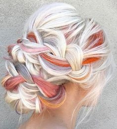 Platinum Blonde White & Orange Lavender Grey Hair - Hair Tips Hairdo For Long Hair, Hair Dos, Lavender Grey Hair, Lilac Hair, Bridal Hairdo, Cool Hair Color, Hair Colors, Colours, Vivid Hair Color