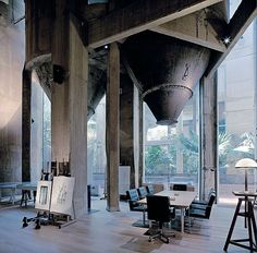 An abandoned cement factory that dates from the first period of the industrialization of Barcelona was transformed into a workspace and residence for Spanish Architect Ricardo Bofill. Discover the unique elements of The Cement Factory now @ Yatzer! Architecture Renovation, Architecture Design, Industrial Architecture, Garden Architecture, Architecture Office, Villa, Architecture Romaine, Magic Places, Ricardo Bofill
