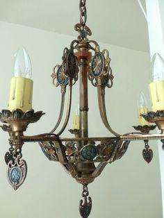 art deco polychrome brass 5 light chandelier by