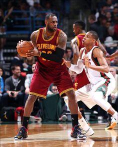 LeBron is guarded by Giannis Antetokounmpo of the Milwaukee Bucks 3/22/2015. #lebron #nba