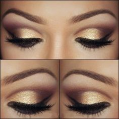 eyebrows, gold shadow